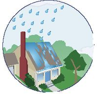 Rain falling on house roof icon