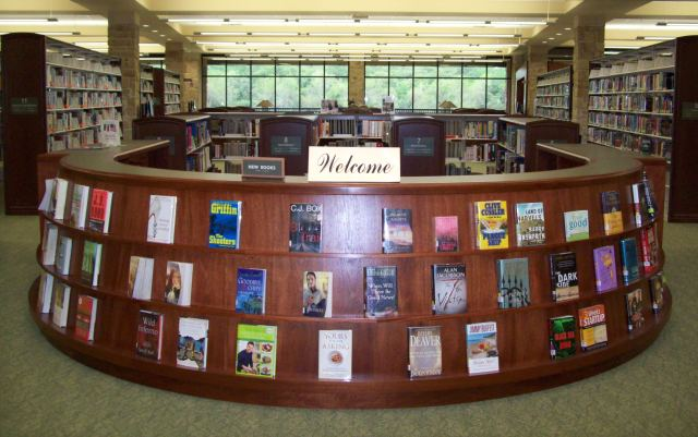Welcome sign at Library counter